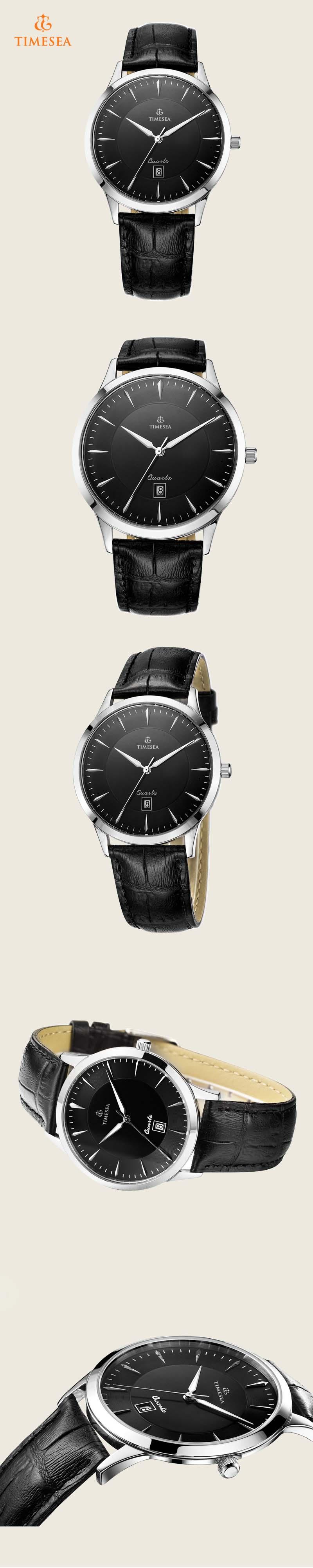 Men's Date Quartz Watch with Black Leather Strap 72271