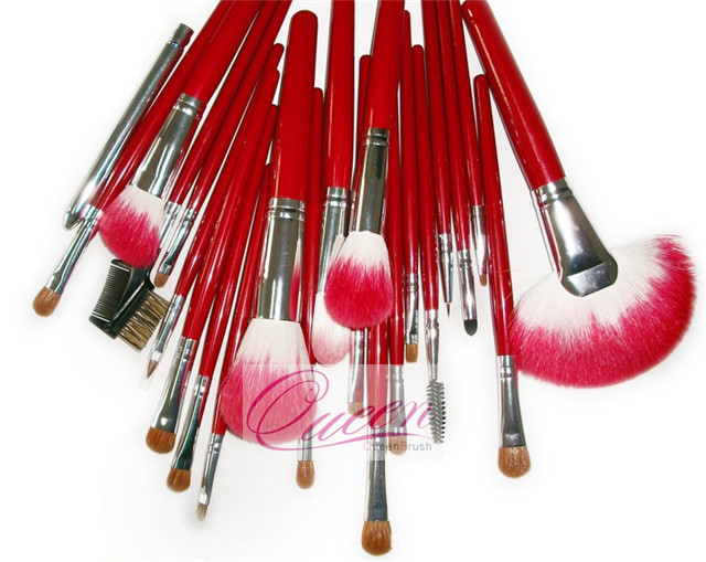 23PCS Goat Hair Red Professional Cosmetic Makeup Brush Kits