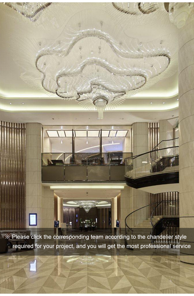 Classic romantic design hotel lobby crystal chandelier lamp