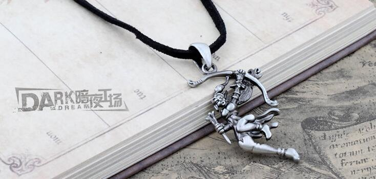 Alloy Metal Silver Jewellery Leather Chain Archer Pendant Necklace Gothic Style