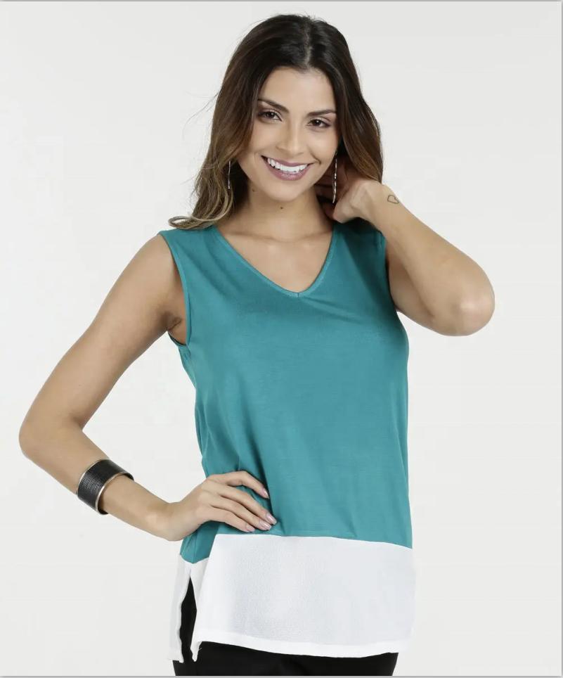 women casual contrast hem color blouse