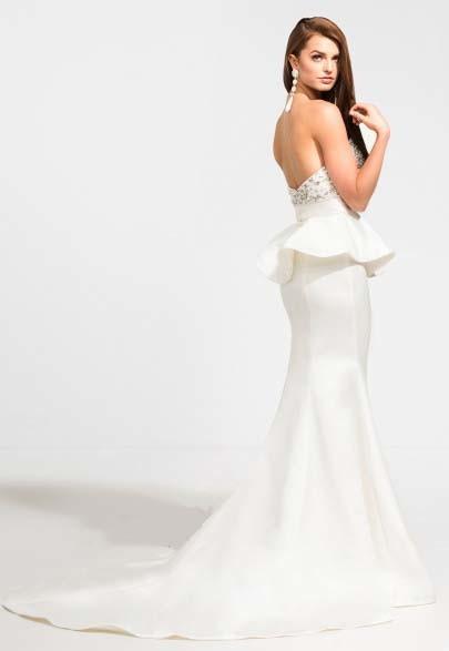 Beaded Bodice Peplum Bodice Evening Dress