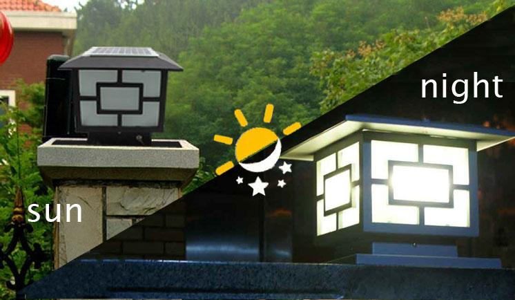 China Outdoor Lighting CE Solar Pillar Light Garden Gate Pillar Lighting Sol