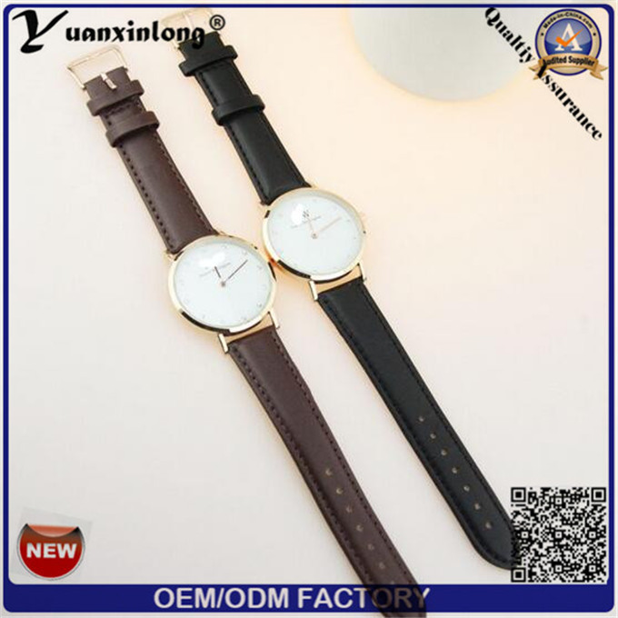 Yxl-658 Black Mens Watches Guangzhou Wrist Watch Mens Brown Leather Watch