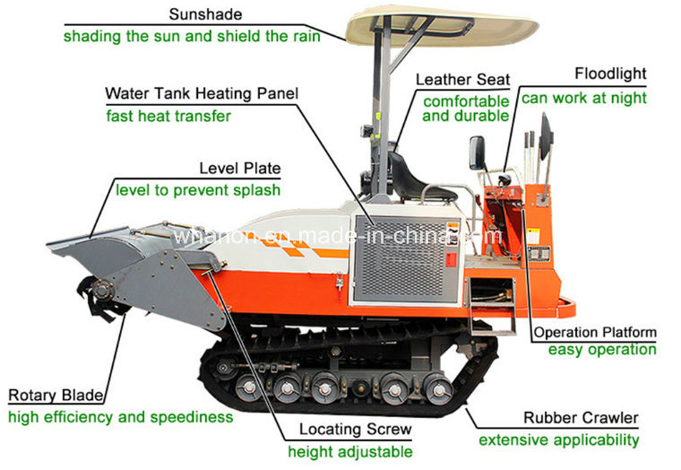 Anon Power Diesel Engine Rubber Crawler Rotary Cultivator