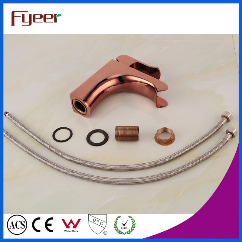 Fyeer Modern Ceramic Core Valve Rose Gold Waterfall Basin Faucet