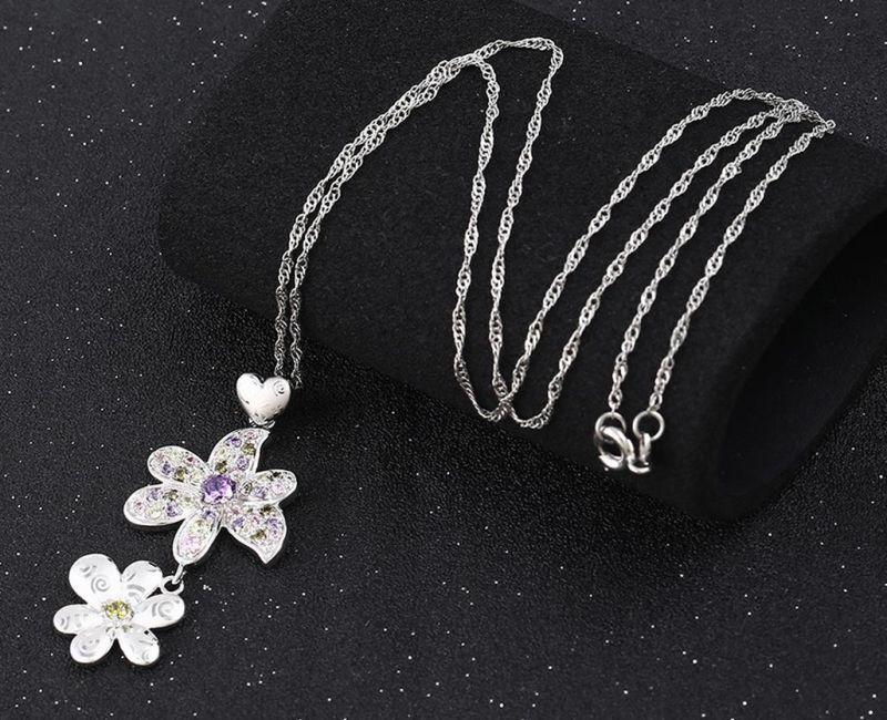 31722 Fashion Luxury Flower Rhinestone CZ Rhodium Imitation Jewelry Chain Pendant