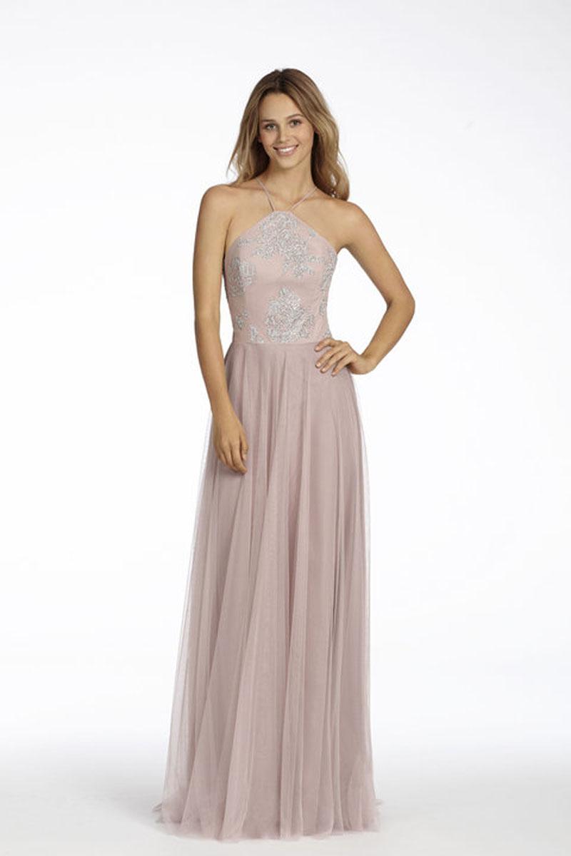 Rose English Net A-Line Bridesmaid Dress with Caviar Bodice, High Neck Halter Neckline and Circular Skirt