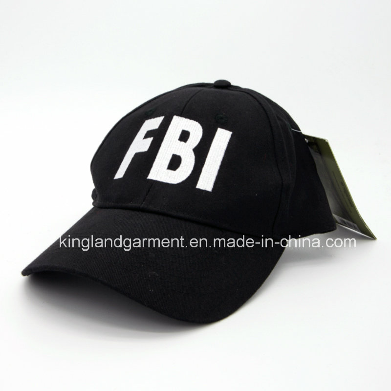Cotton Drill Army Black Fbi Embroidery Baseball Cap