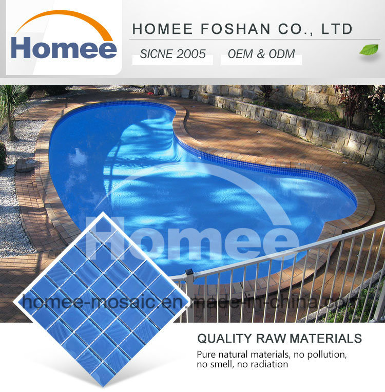 Cheap Price Blue Color Crystal Swimming Pool Mosaic Tile