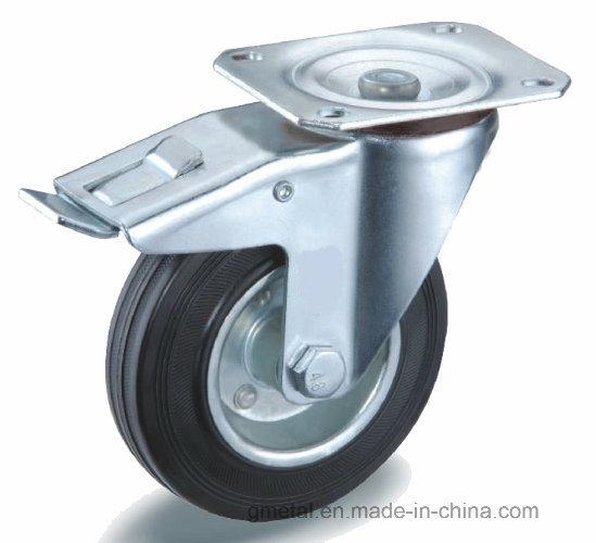 Black Rubber Castor Swivel Steel Rim and Roller Bearing