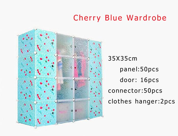Cherry Plastic Storage Cabinet Blue Wardrobe