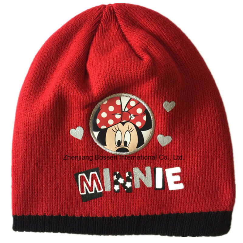 Custom Made Cartoon Printed Acrylic Winter Red Customized Children's Knit Beanie Hat