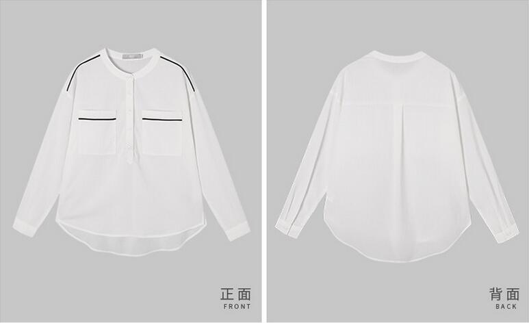 Summer Clean Pure White Round-Neck Women's Shirt