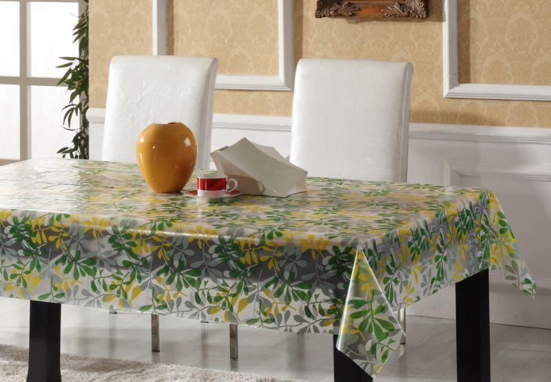PVC Printed Semi-Transparent Tablecloth for Home/Party