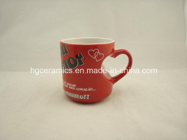 Red Heart Decal Printed Mug, Heart Mug, Red Mug, Coffee Mug