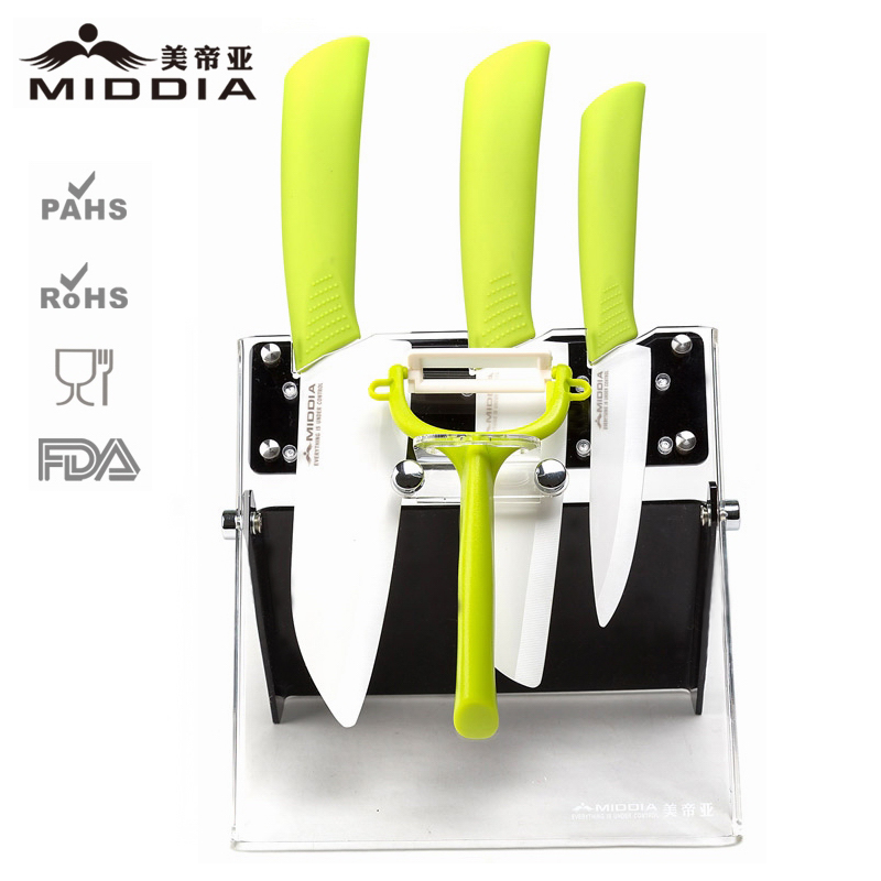 Eco Friendly Ceramic Knife Set Kitchen Utensils with Potato Peeler & Holder