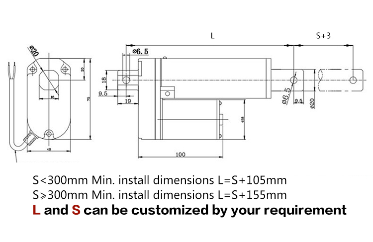 24V Parallel Linear Actuator with Low Noise