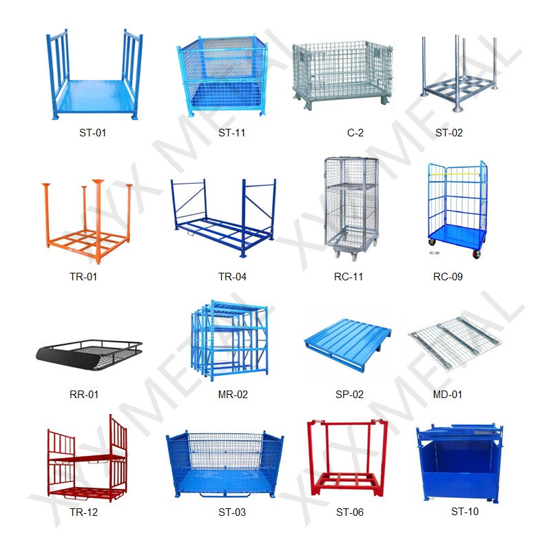 Warehouse Industrial Foldable Storage Steel Wire Mesh Stacked Stillage Cage