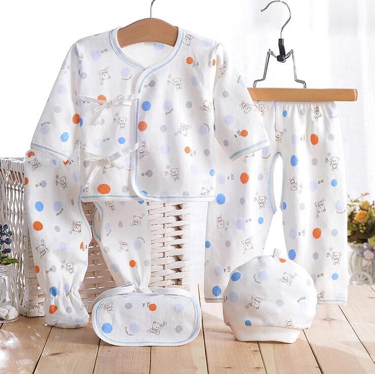 Cotton Printed Newborn Baby Infant Apparel 5PCS