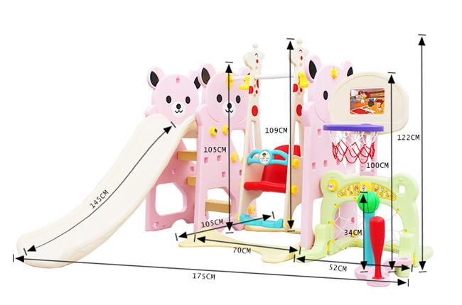 Bear Style Chilren Indoor Plasti Slide with Ball Pit