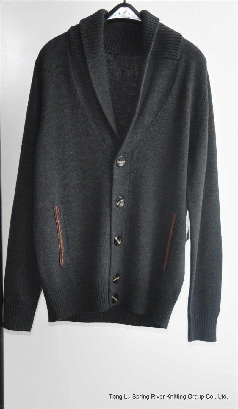 Men Winter Knitted Cardigan Sweater with Button and Pocket