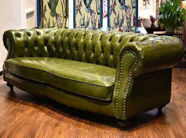 Chesterfield European Style Modern Living Room Leather Sofa
