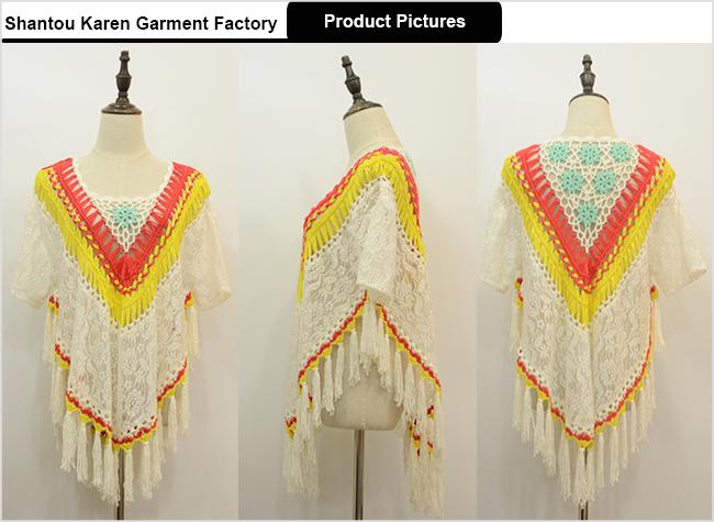 Women Floral Fashion Fringe Lace Poncho Sweater