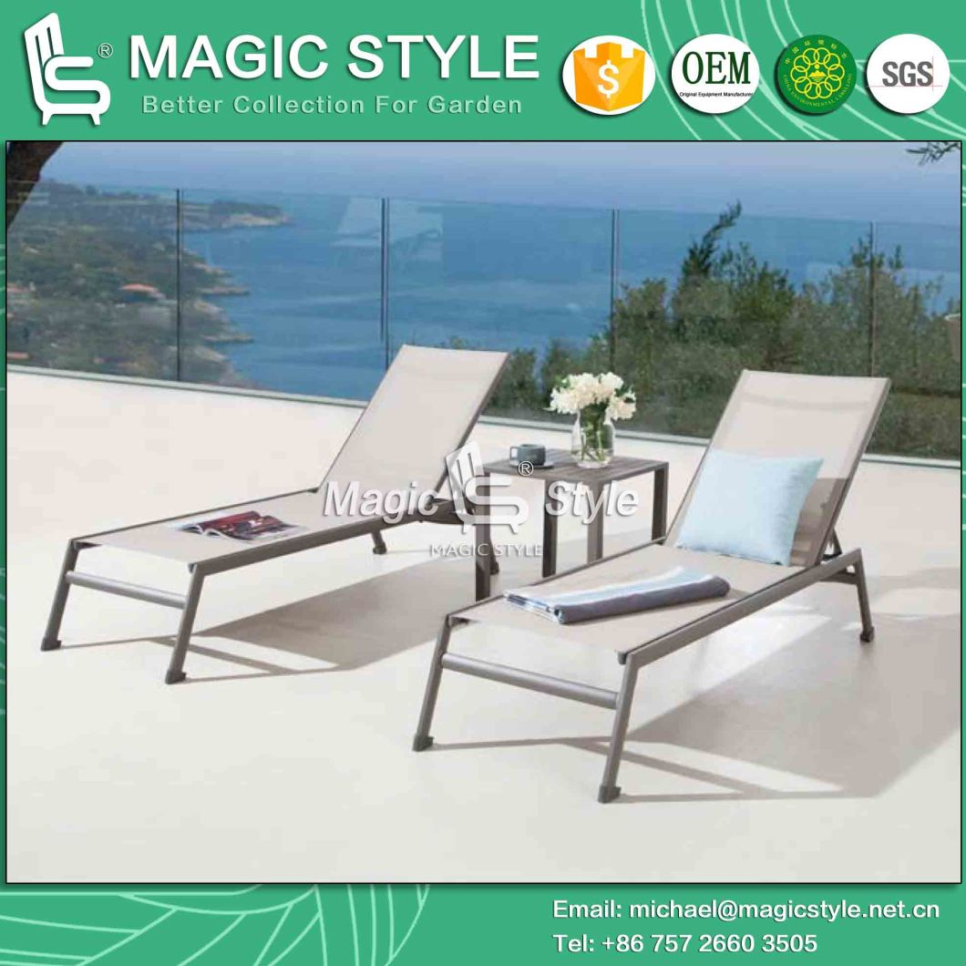 Outdoor Textile Lounge Without Arm Garden Sling Lounge with Coffee Table Aluminum Sun Lounge Patio Coffee Table Stackable Sling Lounge