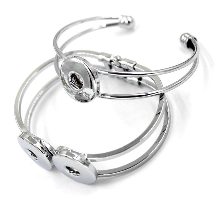 18mm Silver Fashion Jewelry DIY Buttons Leather Woven Bracelet