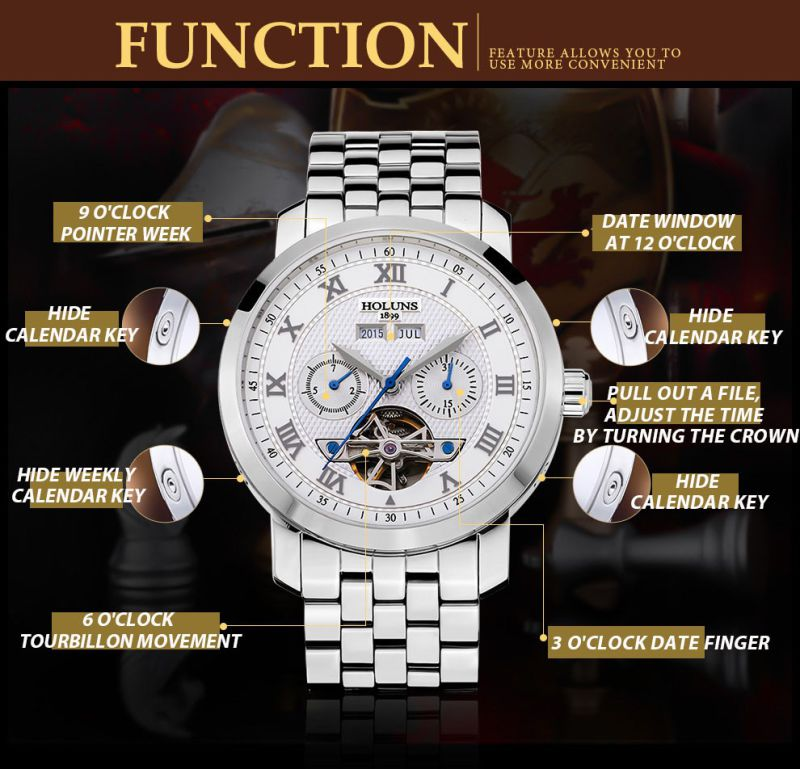 Luxury Men Watch Tourbillon Waterproof Date Week Stainless Steel Automatic Mechanical Wristwatch Relogio Masculine