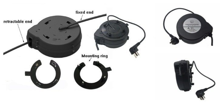 Stretchy Power Cord Recoiler with Magnetic Mounting Ring