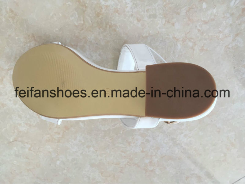 White Women Sandals with PU Upper, Lady Casual Shoes with Good Quality and Competitive Prices