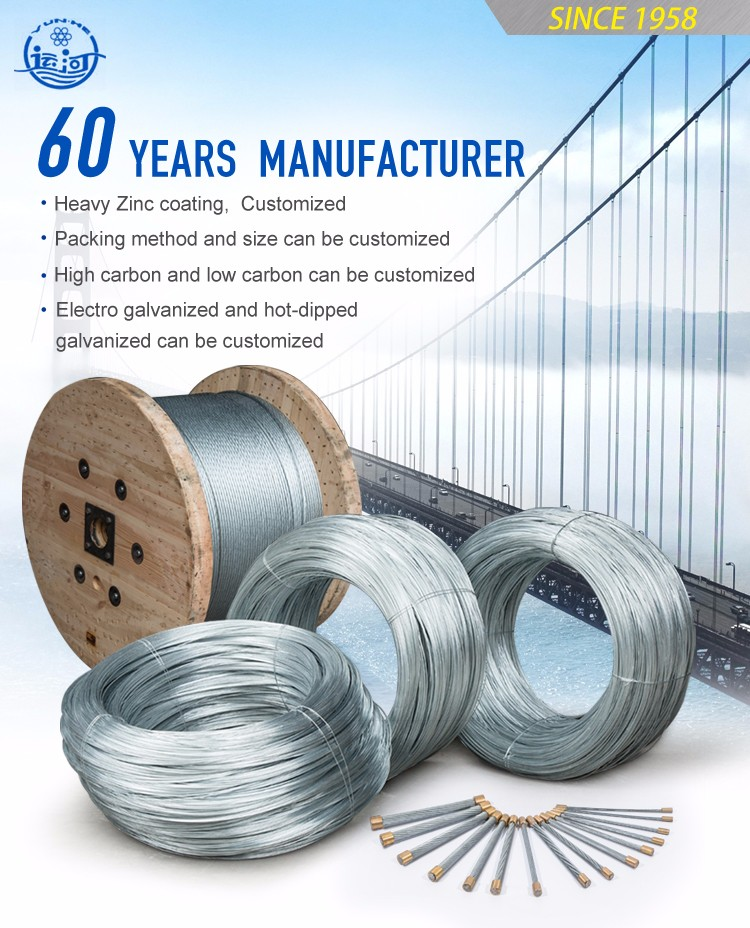Galvanized Steel Wire Strand 1/8'' /1X7-3.18mm Zinc Coated Steel Wire Strand