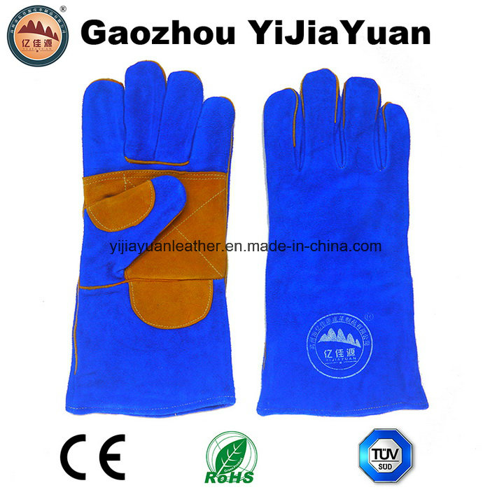Reinforcement Palm Cow Split Leather Industrial Welding Gloves for Construction