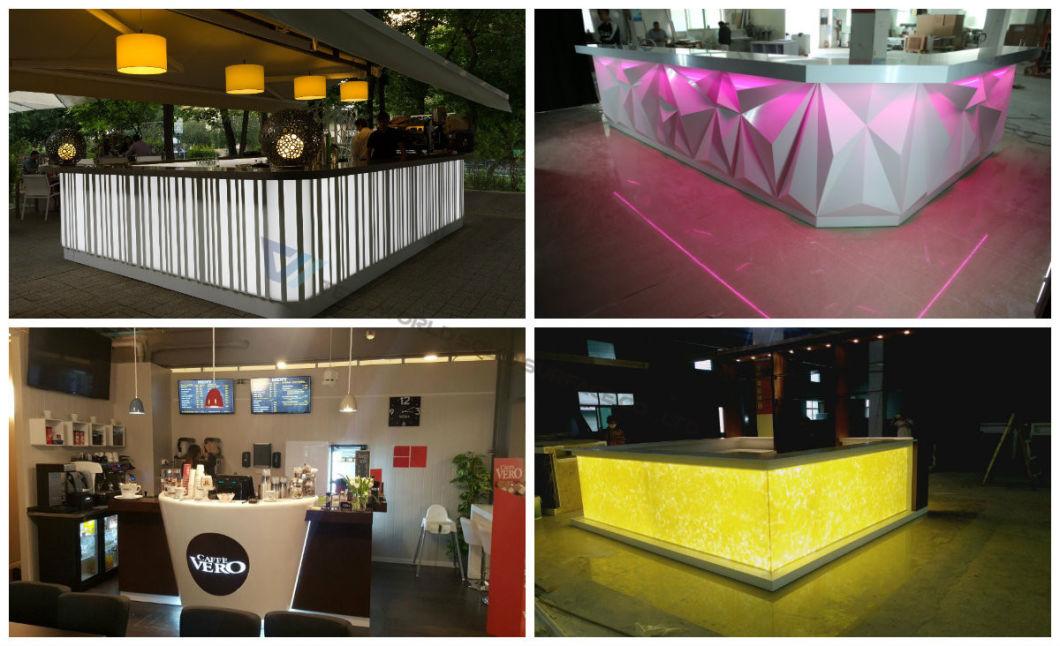 2017 LED Light Bars Hot Sale Modern Home Bar Counter Design Cashier Counter for Restaurant