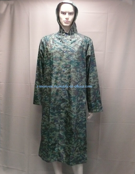 Waterproof Military Camouflage Long Raincoat