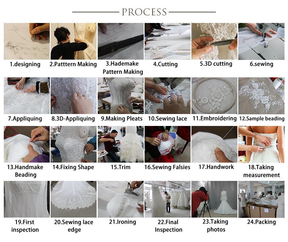 New Design Wholesale White Long Wedding Dress W18348