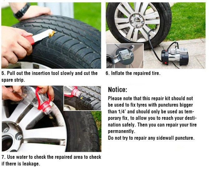 6in 1 Car Bike Auto Tubeless Tire Tyre Puncture Plug Repair Tool Kit with Plastic Handle