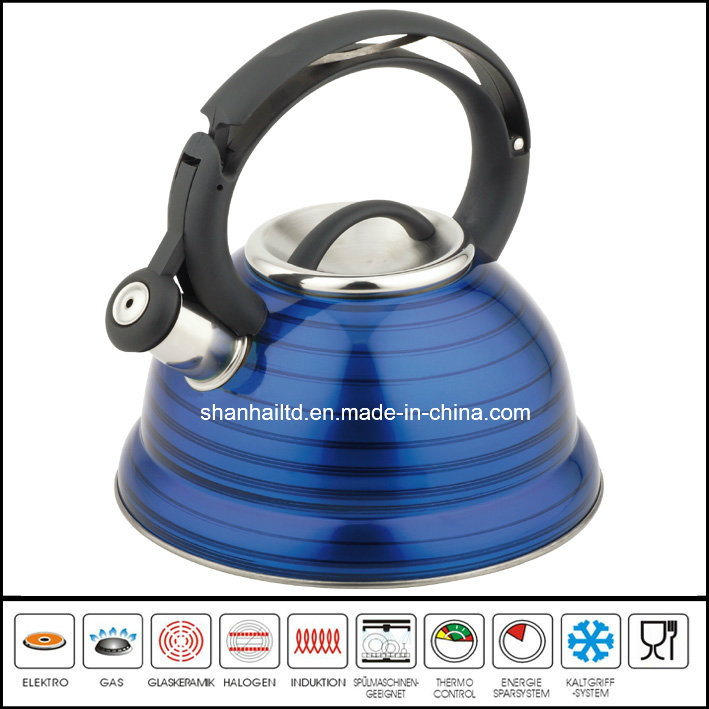 Unique Stainless Steel Color Painted Whistle Kettle