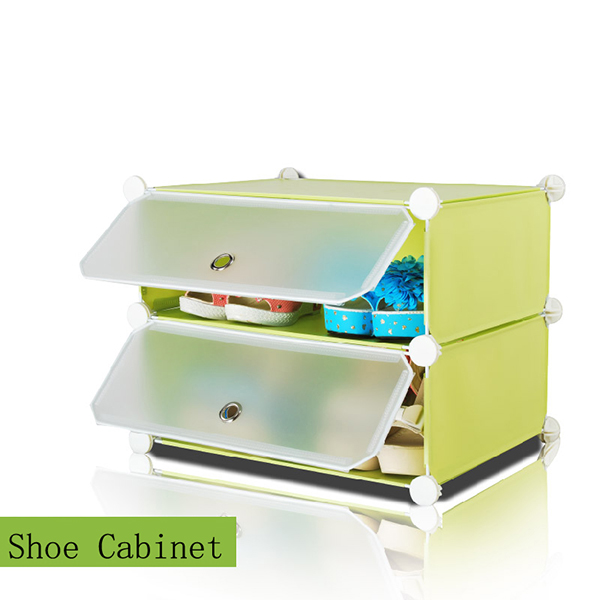 2 Cube Waterproof Shelf Plastic Storage Shoe Organizer Cabinet