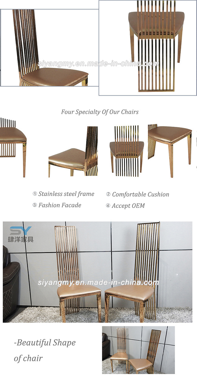 Home Furniture Gold Metal Chair Leather Dining Chairs for Restaurant