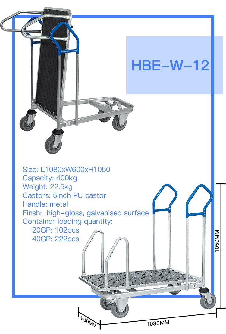 Heavy Duty Foldable Warehouse Platform Transport Trolley Cart