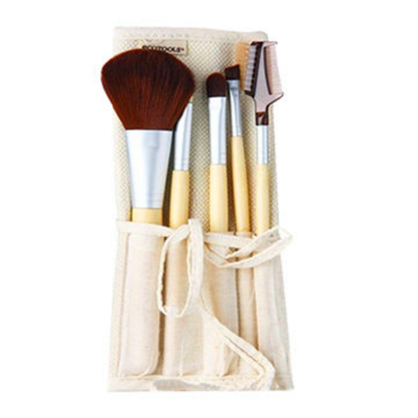 5PCS Bamboo Handle Synthetical Eyebrow Brush Disposable