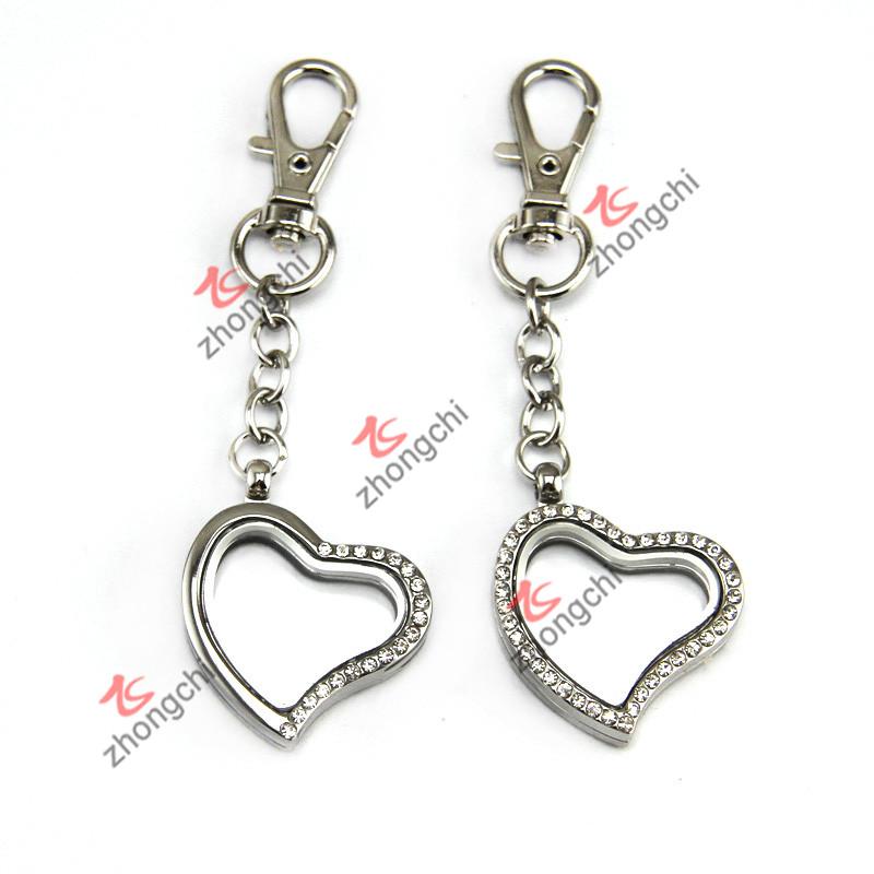 Floating Heart Locket Pendant Keychain for Promotion Gift (LK116)