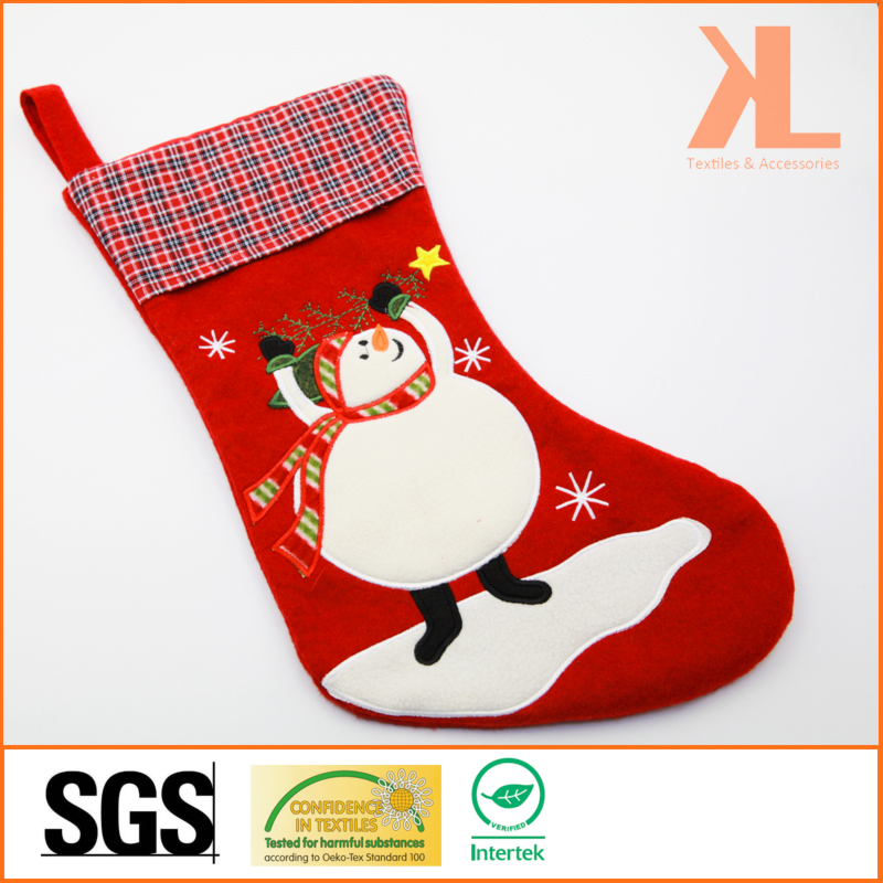 Quality Embroidery/Applique Christmas Decoration Felt Tartan Snowman Style Stocking