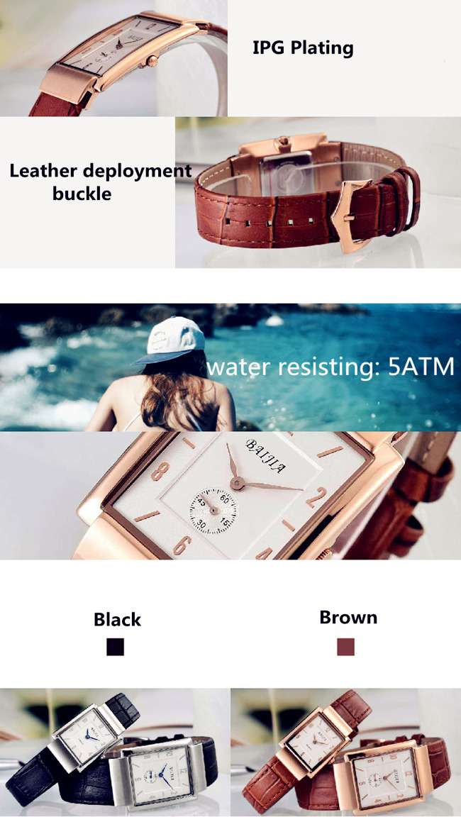 Baijia Unisex High Quality Leather Band Quarts Watch