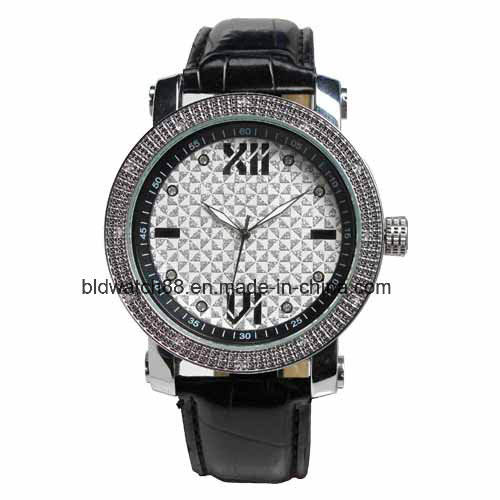 Fashion Analog Golden Alloy Watch with Elastic Band for Man
