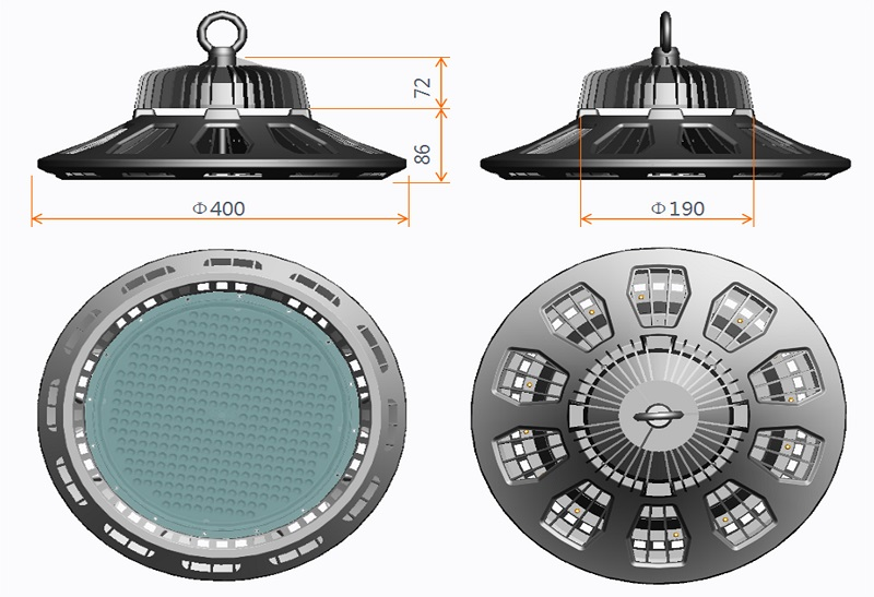 200W UFO LED High Bay Light with ETL Dlc 5 Years Warranty