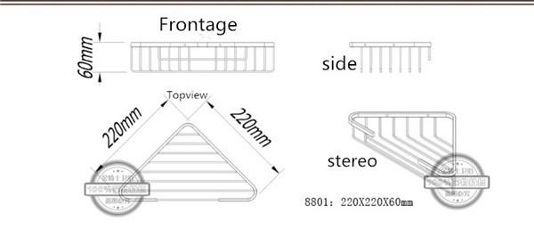 Stainless Steel Bathroom Accessory Metal Corner Wire Basket (8801)